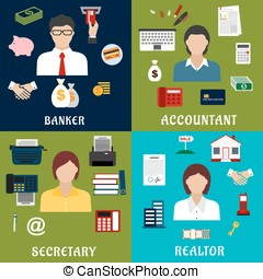 Banker, accountant, secretary and realtor icons - Banker,...