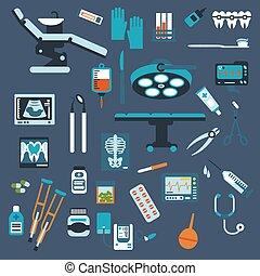Dentistry, surgery and medical checkup flat icons