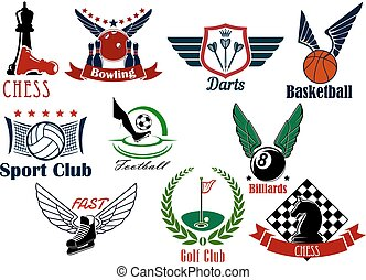 Sporting game or team emblems in retro style - Sporting game...