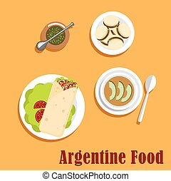 Argentine lunch and dessert food flat icons with empanada,...