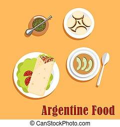 argentino, almuerzo, y, postre, alimento,