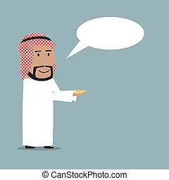 Arabian businessman received money with speech bubble -...