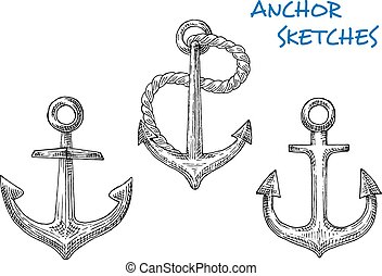 Sketches of old ship anchors with rope - Nautical anchors in...