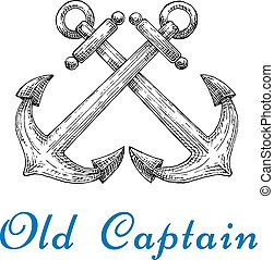 Heraldic sketch of crossed nautical anchors - Old captain...