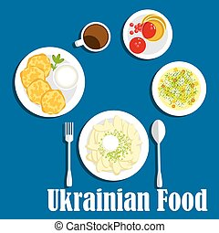 Fresh ukrainian cuisine vegetables and drink - Vegetarian...