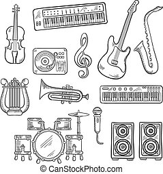 Musical instruments and equipments sketches - Musical...