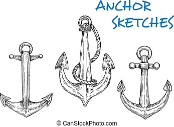Sketch of vintage nautical anchors with rope