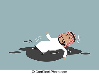 Arabian businessman falling into crude oil puddle - Oil...