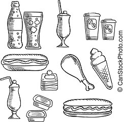 Fast food with dessert and drinks sketch icons - Fast food...