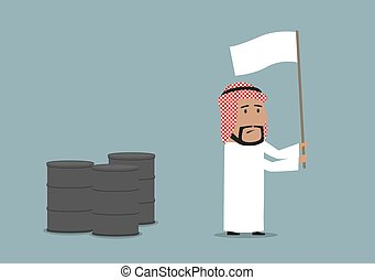 Arabian businessman capitulating with white flag - Business...