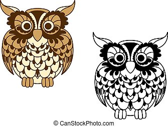 Brown cartoon and outline colorless owl bird - Vintage...
