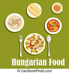 Dinner with dessert of hungarian cuisine - Hungarian cuisine...