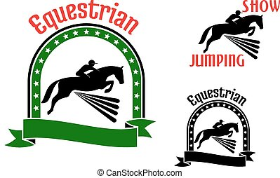 Equestrian sport symbols with jumping horses