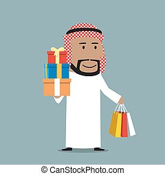 Arabian businessman with shopping bags and gifts
