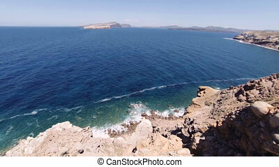 Caldera, Santorini island, overlooking the Mediterranean Sea...