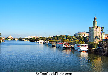 Torre del Oro, Seville - A view of the Guadalquivir River...