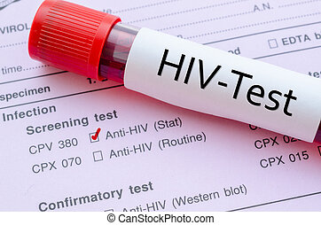 HIV infection screening test form. - Sample blood collection...