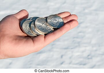 Cold hard cash - silver - Close up of Mexican silver coins...