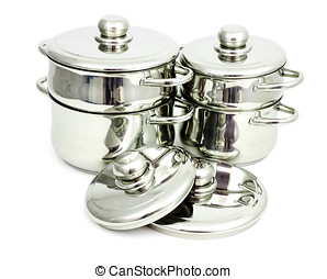 Stainless steel pans - Pans made of stainless steel on a...