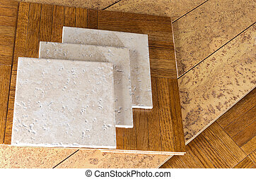Flooring Samples of Wood Cork Tile