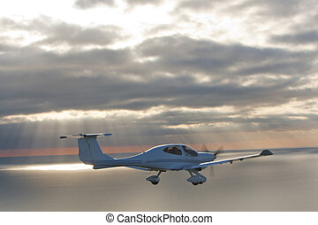 Single Engined Plane Flying Over Sea at Sunset - Air to air...