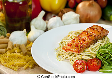 Seared Chili Salmon Fillet With Pesto Spaghetti and Rocket...
