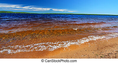 Lake Gogebic Panorama - Panoramic beach landscape of Lake...