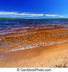 Lake Gogebic Summer Landscape - Summer beach landscape of...