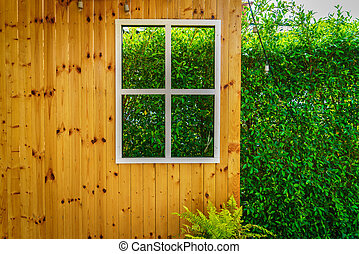 House window frame with view to nature scene