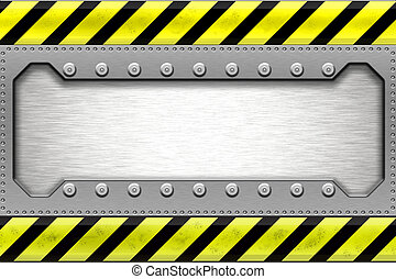 Steel border - Rivets in metal shape Copy space