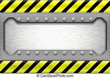 Steel border - Rivets in metal shape. Copy space.