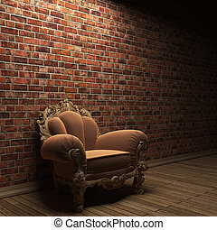 illuminated brick wall and chair made in 3D graphics