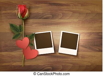 Valentine's day background with two photos, hearts, and a rose. Vector.