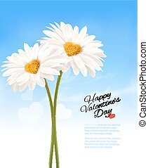 Two daisies with heart shaped middles. Valentine's Day background. Vector.