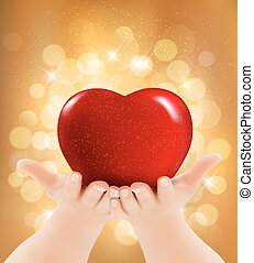 Valentine`s day background. Hands holding red heart. Vector illustration