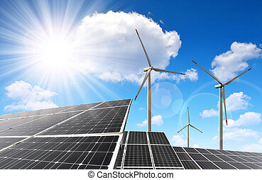 Solar panels and wind turbines - Solar energy panels and...