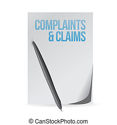 complaints and claims sign notepad illustration design...