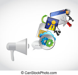megaphone and set of app icons illustration design graphic