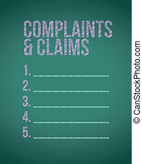 complaints and claims sign chalkboard illustration design...