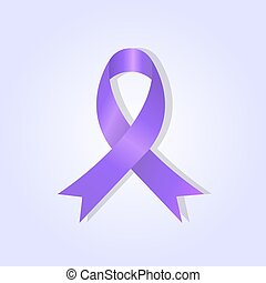 Purple awareness ribbon on purple glow background