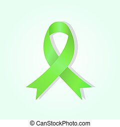 Green awareness ribbon on green glow background