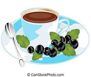 Tea with currant - Aromatic tea with sheet of the currant on...