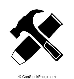 hammer and chisel - Black icon hammer and chisel on a white...
