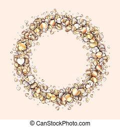 Vintage frame with golden hearts