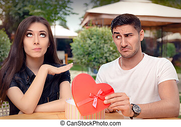Girl Refusing Gift from Boyfriend - Materialist girlfriend...