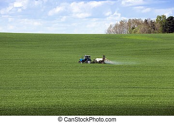 Processing of cereal - tractor, photographed in the...
