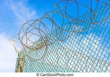 cerca, e, farpa, fios, em, Robben, ilha, prisão,