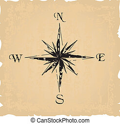 black grunge compass. Vector illustration