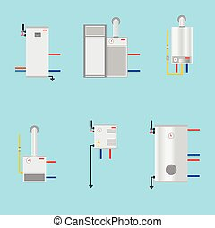 Different boilers icons set. Flat style. Electrical, gas, Pyrolysis boilers and heat pump. Efficient house concept. Vector illustration for your design.