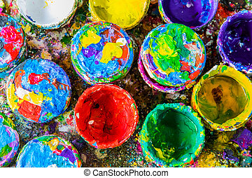 Colorful cans and paints - Cans and paint on the colourful...